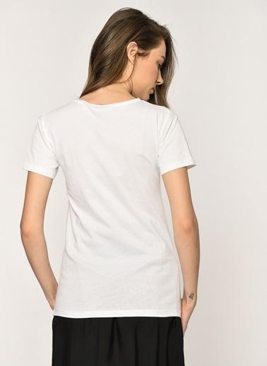Loves You Yıldız Taşlı T-Shirt Beyaz